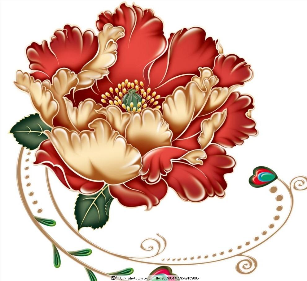紅色牡丹花素材