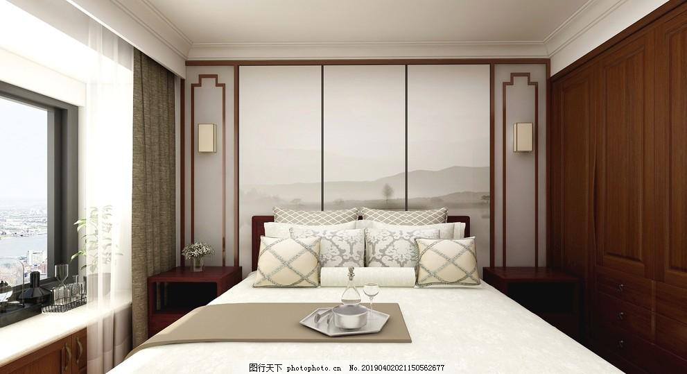 主卧,卧室,新中式,实木,家装,新中式背景,设计