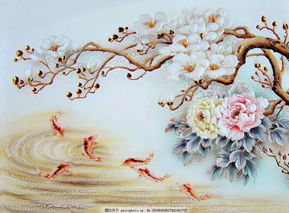 新中式复古花卉富贵有余牡丹鱼四,卧室,客厅,客厅无框画,室内无框画,卧室无框画,工艺图