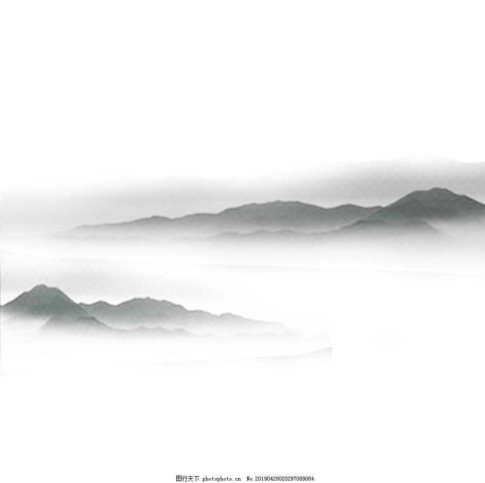 中国风水墨画远山流水云山雾罩黑,黑白水墨画,山水写意,设计,底纹边框,背景底纹,300DPI