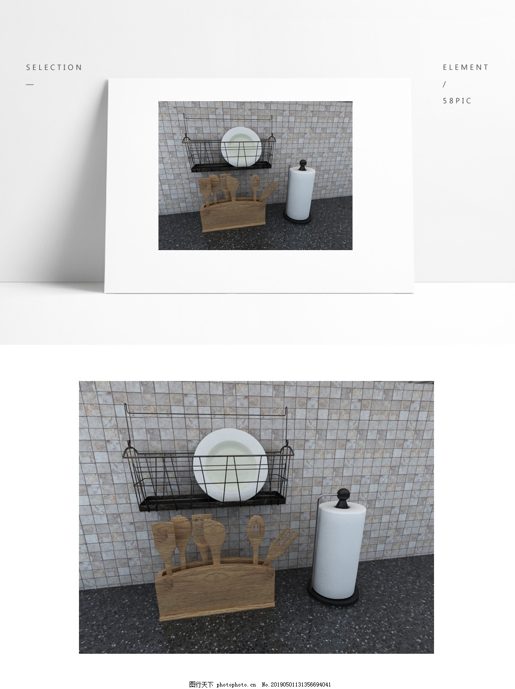 厨房设备碗碟模型背景是模型无其它链接,厨房碗碟
