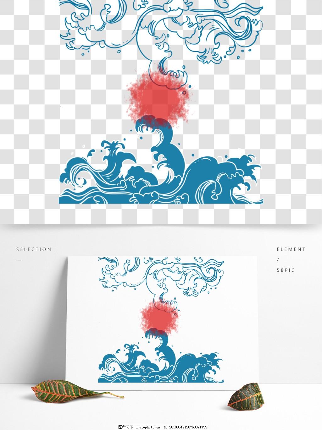 浪花传统古典手绘蓝色日系底纹图案端午元素,海浪,浪水,复古,背景,花纹,线条