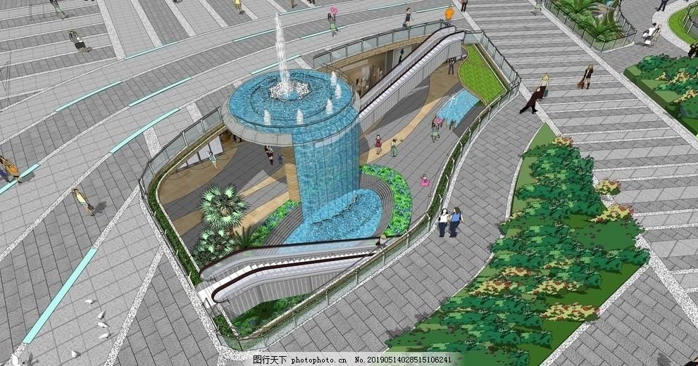 休闲水街景观设计,休闲水景,步行街,商业街,休闲购物节,购物街,时尚街区