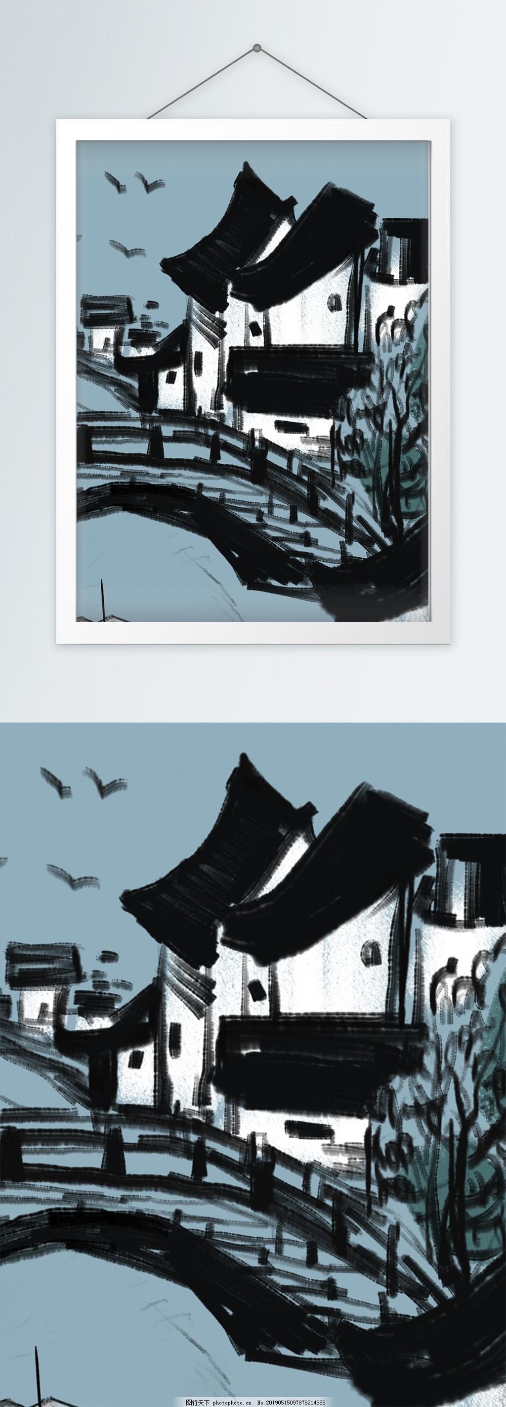 中式江南水乡水墨手绘竖版装饰画,精品,好看,图片,走廊,卧室,书房