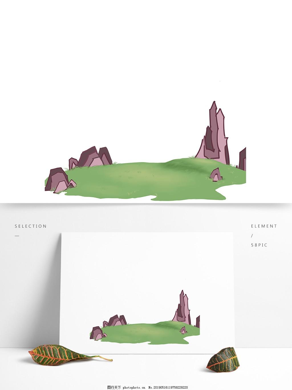 草地素材手绘绿地石块,卡通,地形