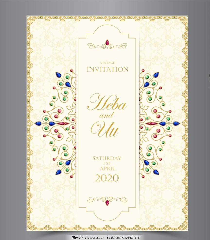 婚礼邀请卡,请帖,背景,设计,模板,复古,图案