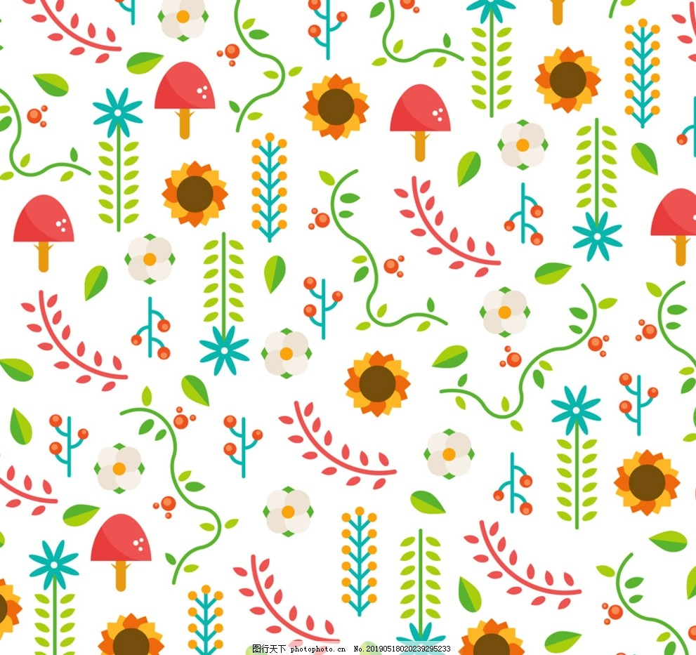 清新花草蘑菇无缝背景,背景边框,设计,底纹边框,背景底纹,AI
