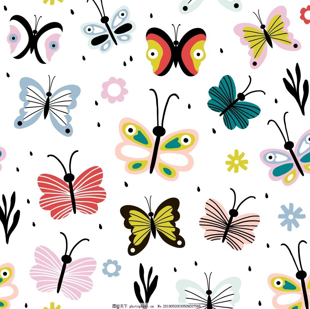花花蝴蝶花卉,花朵,花卉涂鸦,手绘蝴蝶,蝴蝶儿童画,蝴蝶简笔画,蝴蝶插画