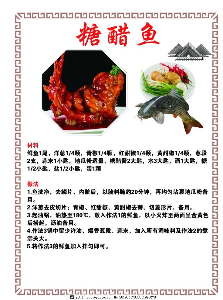 菜谱,家常菜做法,糖醋鱼,草鱼,食材,展板,设计