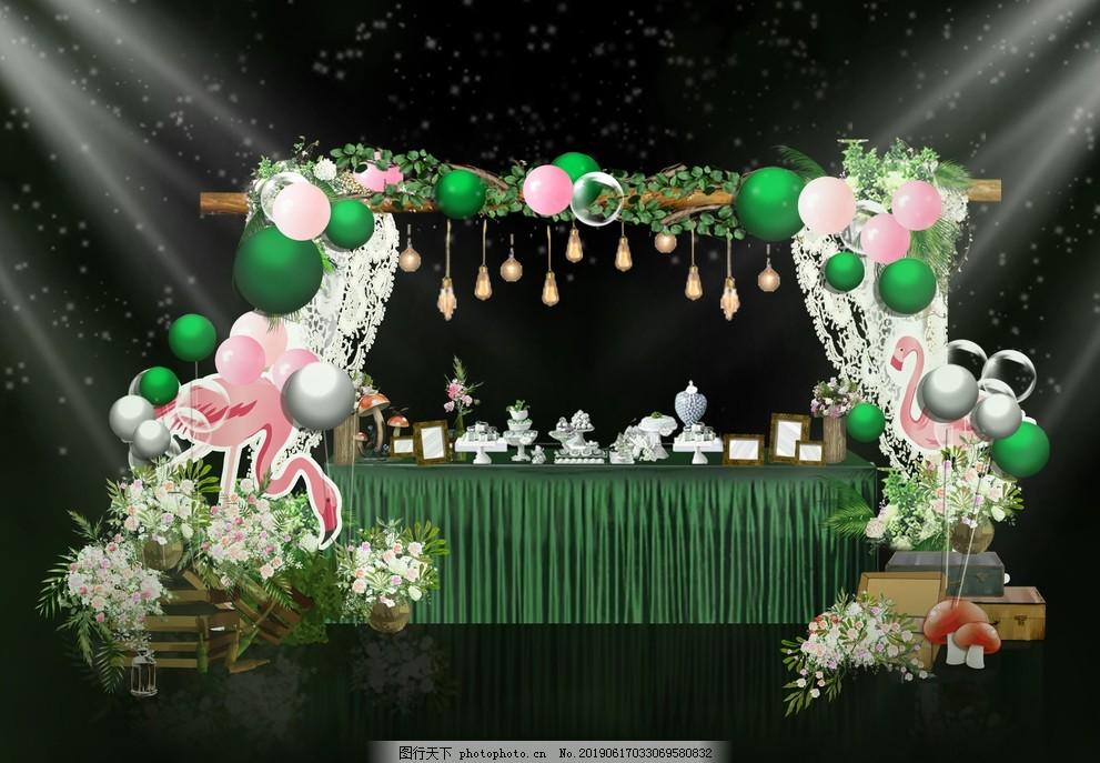 甜品台,绿色,粉色,火烈鸟,宝宝宴,设计,PSD分层素材